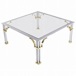 chrome brass glass top square coffee table for sale at 1stdibs With square glass and chrome coffee table