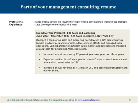 Management Consulting Resume Buzzwords by Experienced Management Consultant Resume
