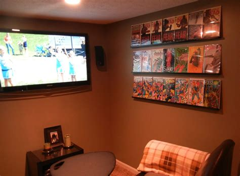 comic book shelves made using crown molding and l brackets