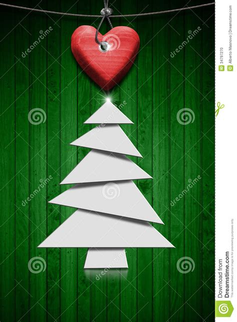 stylized christmas tree  green wood background stock