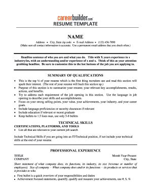 chronological resume template forms fillable printable