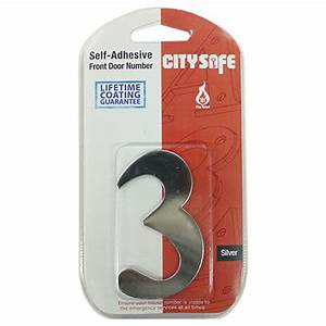 Self adhesive door numbers 2 quot silver effect self for Self adhesive house numbers and letters