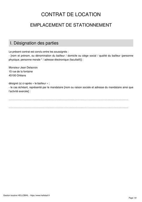 modele de contrat de location parking garage ou box