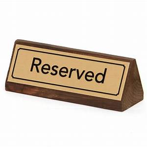 Gold, Reserved, Table, Signs, Wood