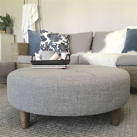round ottoman coffee table large grey tufted ottoman round fabric coffee table