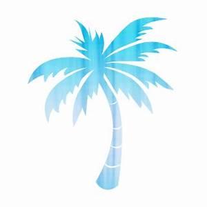 Blue Palm Tree Black Background Clipart