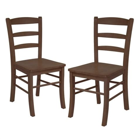 ladder back dining chair in antique walnut finish set of