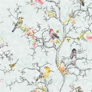 Statement Ornithology Blue Birds Wallpaper Departments