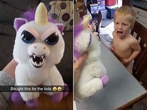 Toddler's Hilarious Reaction to Evil Toy Unicorn PEOPLE com