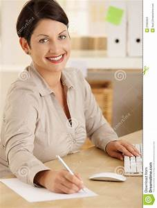Happy Office Worker Taking Notes Stock Images - Image ...