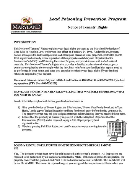 maryland lead poisoning prevention notice  tenants rights