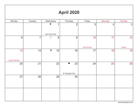 april calendar printable bank holidays uk