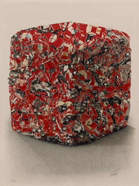 cesar compression ferrari rouge lithographie