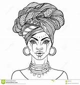 African American Pretty Vector Woman Illustration Lips Turban Coloring Queen Dreamstime Adults Glossy Avatars Colors Shutterstock sketch template