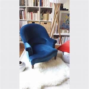 Fauteuil Crapaud Bleu Canard : fauteuil crapaud velour bleu fauteuil et rocking chair ~ Teatrodelosmanantiales.com Idées de Décoration