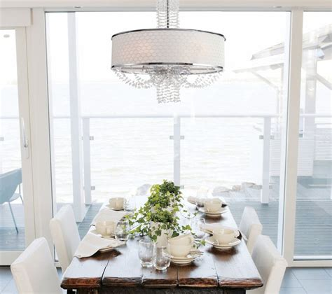 Chandeliers Dining Room by Drum Shade Chandelier In Different Dining Rooms To Try