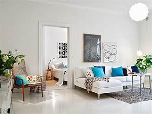 Coussin Style Scandinave : salon moderne blanc quels meubles et d co pour le r ussir ~ Teatrodelosmanantiales.com Idées de Décoration