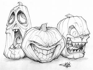 Jack O Lantern Trio Drawing To Draw Pinterest