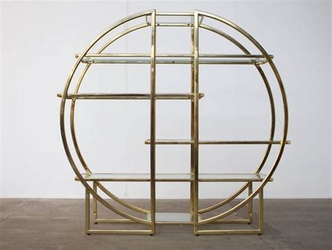 Glass Etagere Display by Circular Brass Etagere With Glass Display Shelves At 1stdibs