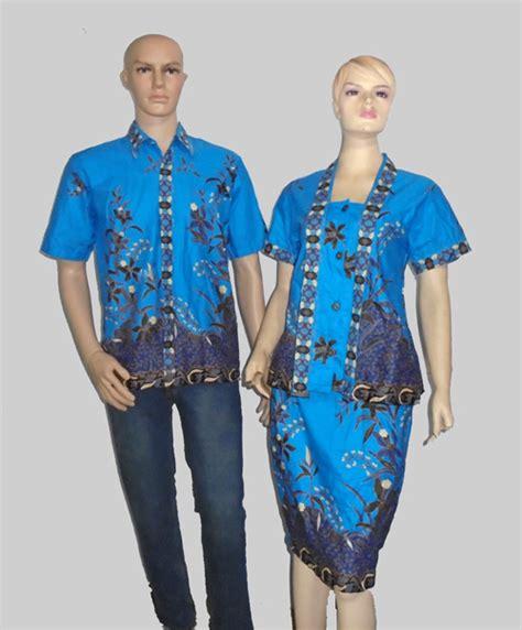 Setelan Koko Biru baju batik wanita setelan rok pendek batik setelan kerja