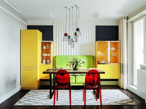 bright multicolor apartment  mid century modern style home interior design kitchen