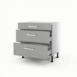 Meuble à Tiroir : meuble de cuisine bas gris 3 tiroirs d lice x x ~ Melissatoandfro.com Idées de Décoration