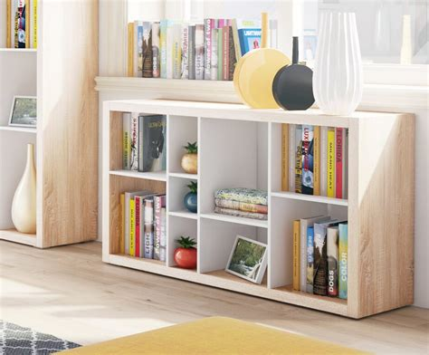 Ruby Low Wide Bookcase Open Back Room Divider Oak With