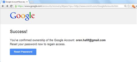 Account Recovery Oren Hafif Google Account Recovery Vulnerability