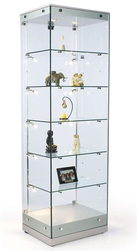 glass cabinet with lights glass cabinets w halogen lighting silver mdf