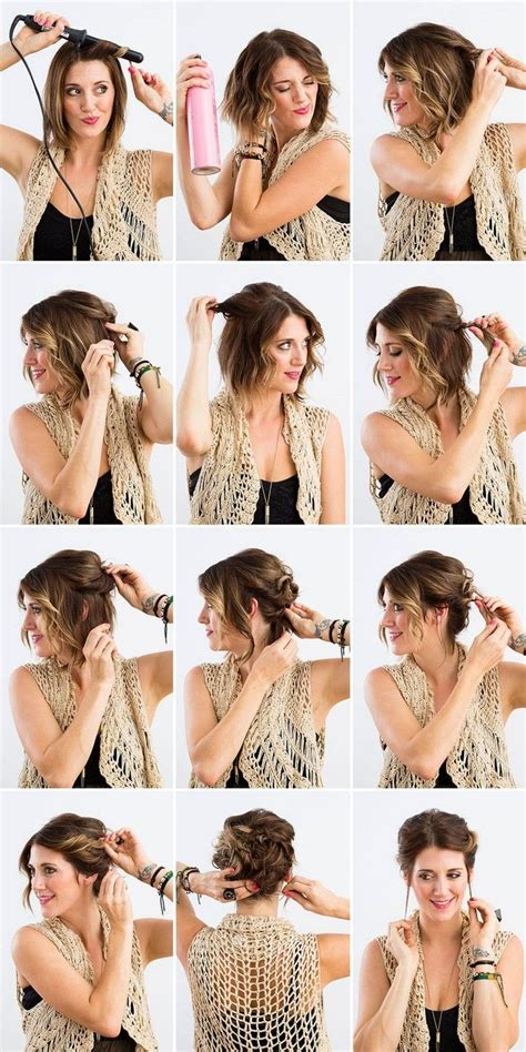 anleitung für hochsteckfrisuren selber machen lockere hochsteckfrisuren kurze haare locken zwirbeln