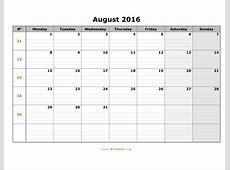 August 2016 Calendar WikiDatesorg