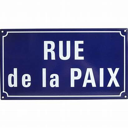 Street French Sign Rue Paix Enameled Peace