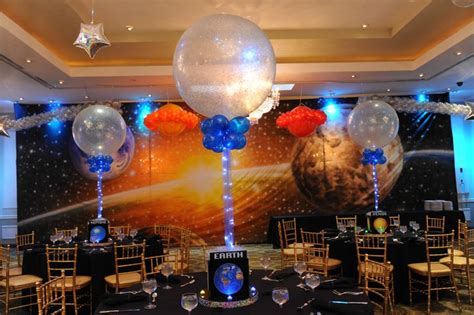 Space Themed Bar Mitzvah Centerpieces With Sparkle Balloons  Decor Ideas  Pinterest Bar