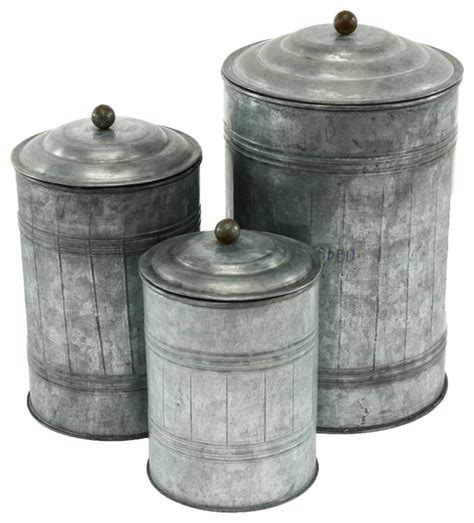 Galvanized Metal Canisters, Set Of 3  Farmhouse Kitchen