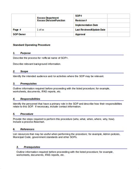 Work Procedures Template by Procedure Template 8 Free Word Documents