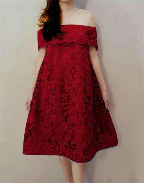 baju mini dress pendek brukat model sabrina ryn fashion