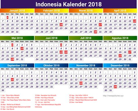 year indonesian printable calendar printable