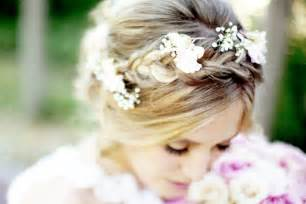 flowers in hair braided bridal style