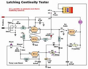 How To Build Latching Continuity Tester  Circuit Diagram