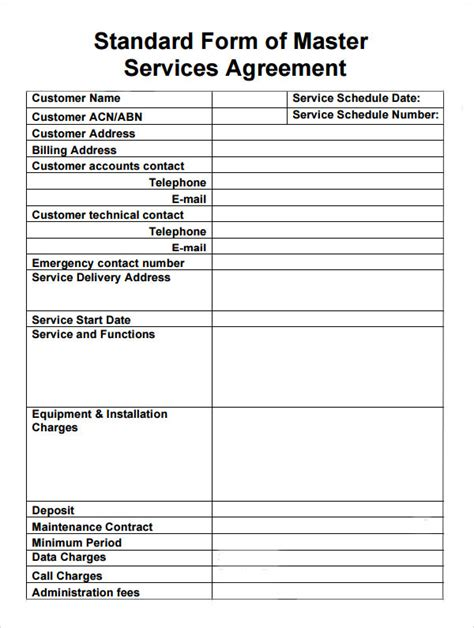 sample master service agreement templates sample
