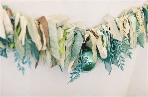 unique wedding garland lace and turquoise sparkle