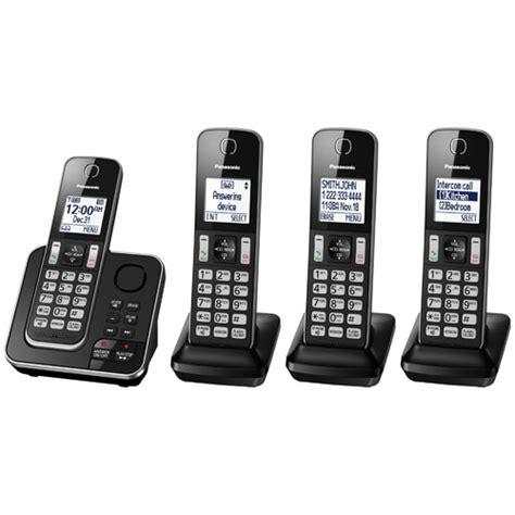 telephone interieur sans fil panasonic 4 handset dect cordless phone with answering machine kxtgd394b cordless phones