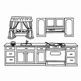 Kitchen Coloring Pages Cabinet Sink Template Templates Utensils Drawer sketch template