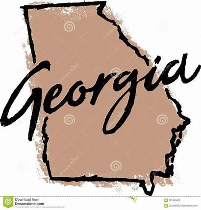 Georgia State Sketch Outline Cursive Drawn