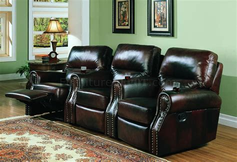 tri tone leather home theater seats w recliners