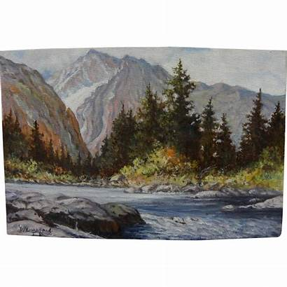 Western Landscape Impressionist Painting Signed Mountains Ruby