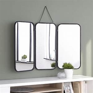 Miroir Metal Noir : id e d coration salle de bain todd miroir de barbier avec cadre en m tal noir ~ Teatrodelosmanantiales.com Idées de Décoration