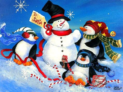 When christmas is right around the corner, you decorate everywhere. Penguins Playtime Xmas New Year Christmas Paintings Cute Winter Snowflakes Love Four Seasons ...
