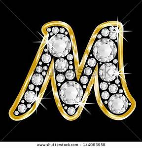 Gold Framed Alphabet Letter M Filled With Diamonds On ...