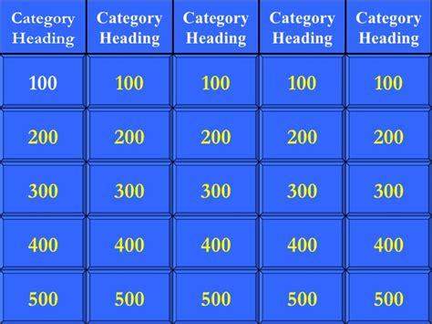 Jeopardy Template Free Jeopardy Template Madinbelgrade
